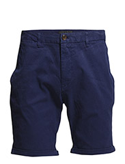 Basic peach touch twill chino short. - 37 cobalt