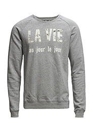 French text crewneck sweat. - 970 grey melange