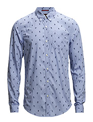 Peach cotton shirt with all-over flock print - dessin C