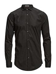 Classic longsleeve shirt in crispy cotton/lycra quality - 90 black