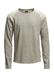 Classic crewneck sweater with melange collar rib - 970 grey melange