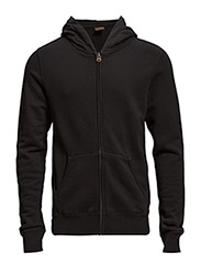Classic hooded cardigan in brushed felpa quality - 90 black
