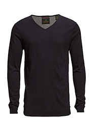 Classic v-neck pull in high twist cotton melange quality - 580 night melange