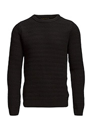 Crewneck pull in monsanto quality knit structure - 90 black