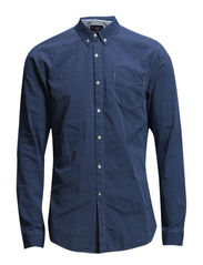 Lightweight denim slim fit dressed shirt - 52 washed indigo