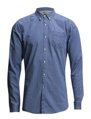 Lightweight denim slim fit dressed shirt - 54 bleached indigo