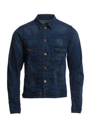 Pleat front slim fit trucker jacket - 48 denim blue