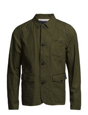 Washed canvas worker jacket - 65 military green