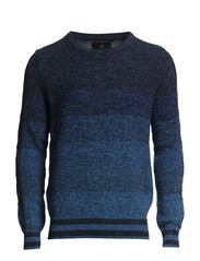 Crew neck knit with mixed structures - dessin A