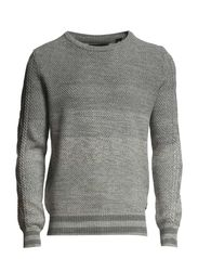Crew neck knit with mixed structures - dessin B