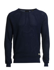 Lightweight crew neck knit in special structure - 57 navy