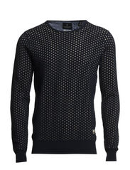 Lightweight crew neck knit in special structure - dessin A