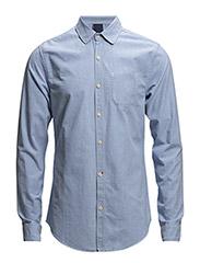 Brushed oxford 1 pocket shirt - 480 denim blue melange