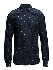 Radio Blauw allover pigment printed shirt - Dessin C