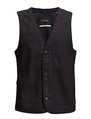 Mixed indigo twill and canvas slim worker vest - 51 indigo
