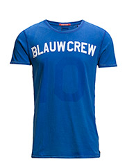 Amsterdams blauw washed text tee - 37 cobalt