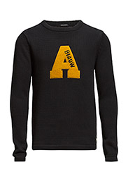 Crew neck vintage replica knit with badges - 58 night