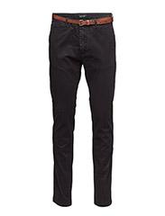 Slim fit cotton/elastan garment dyed chino pant - NIGHT