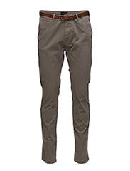 Slim fit cotton/elastan garment dyed chino pant - GREY