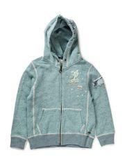 Hooded Zip Through Sweat - 750-mighty mint melange