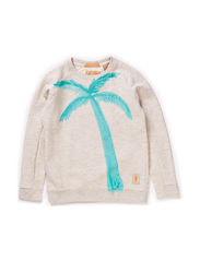 Crew neck sweat with palmtree artwork - 050 ecru melange
