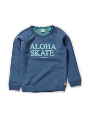 Crew neck sweat in 2 tone quality with towel artworks - 63 china blue