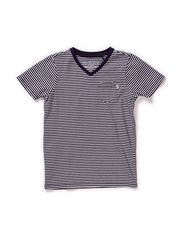 Short sleeve basic V-neck tee - dessin A
