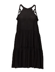 Multi Stitch Tiered Dress - BLACK