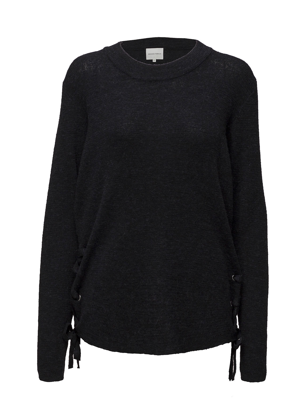 Amandine Knit O-Neck Second Female Sweatshirts til Damer i Sort