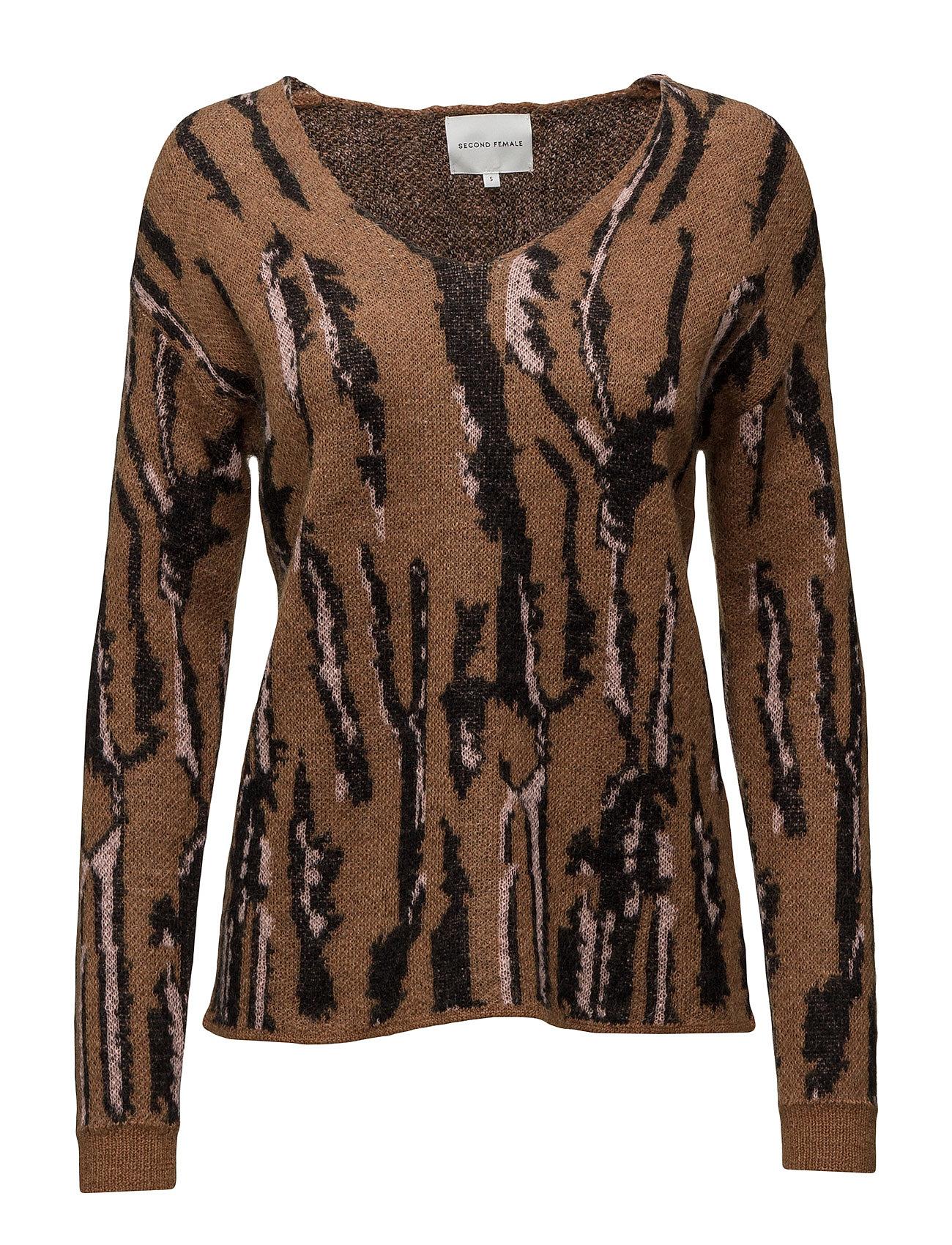 Drea Knit V Neck Second Female Sweatshirts til Kvinder i Brown Nut
