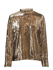 Gloria T-neck Blouse - CHAMPAGNE