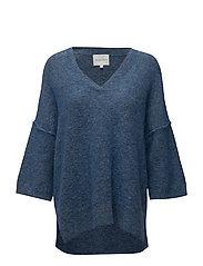 Brook Knit new v-neck - SHIRT BLUE MEL.