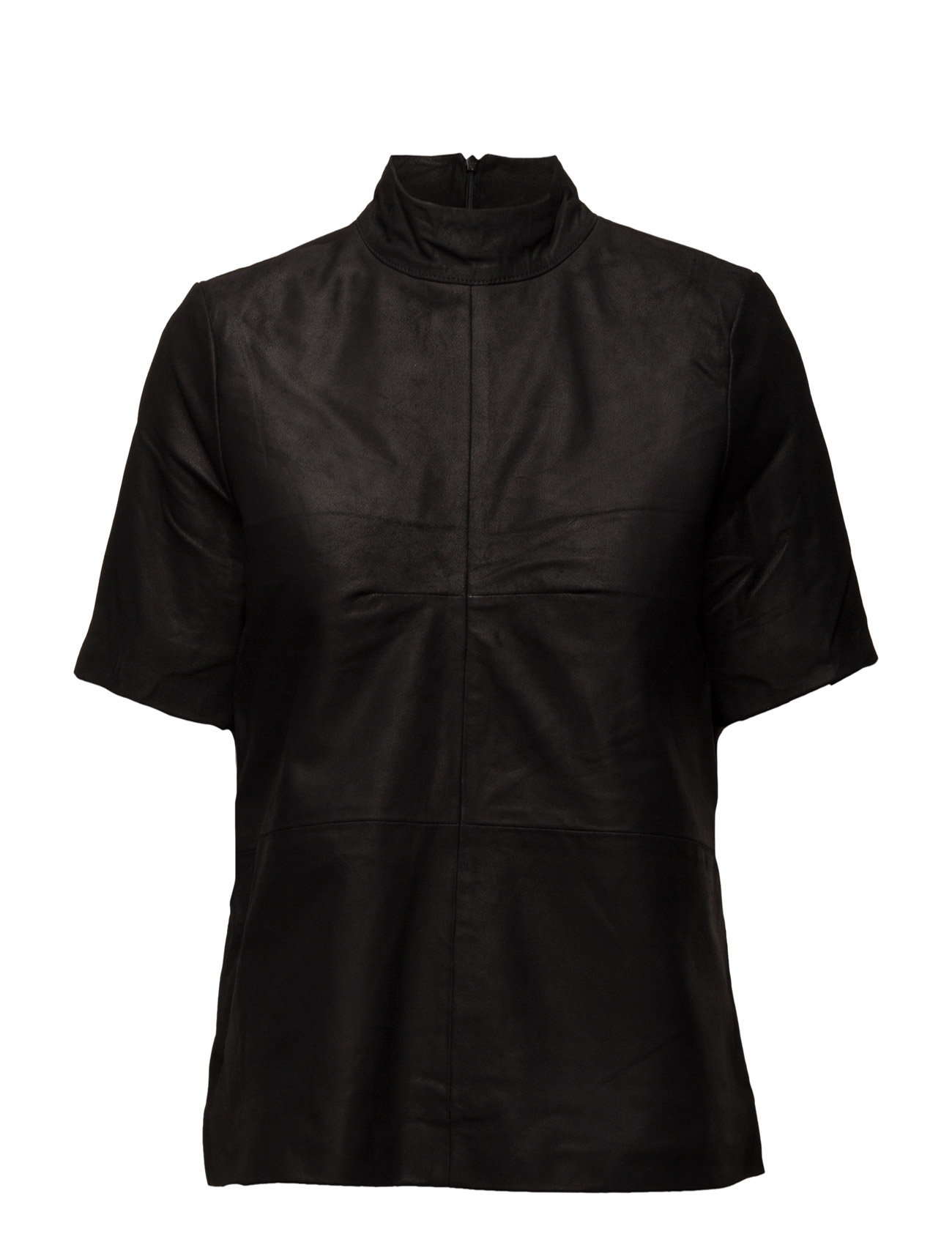 Sfjone Ss Leather Top Selected Femme Kortærmede til Damer i Sort