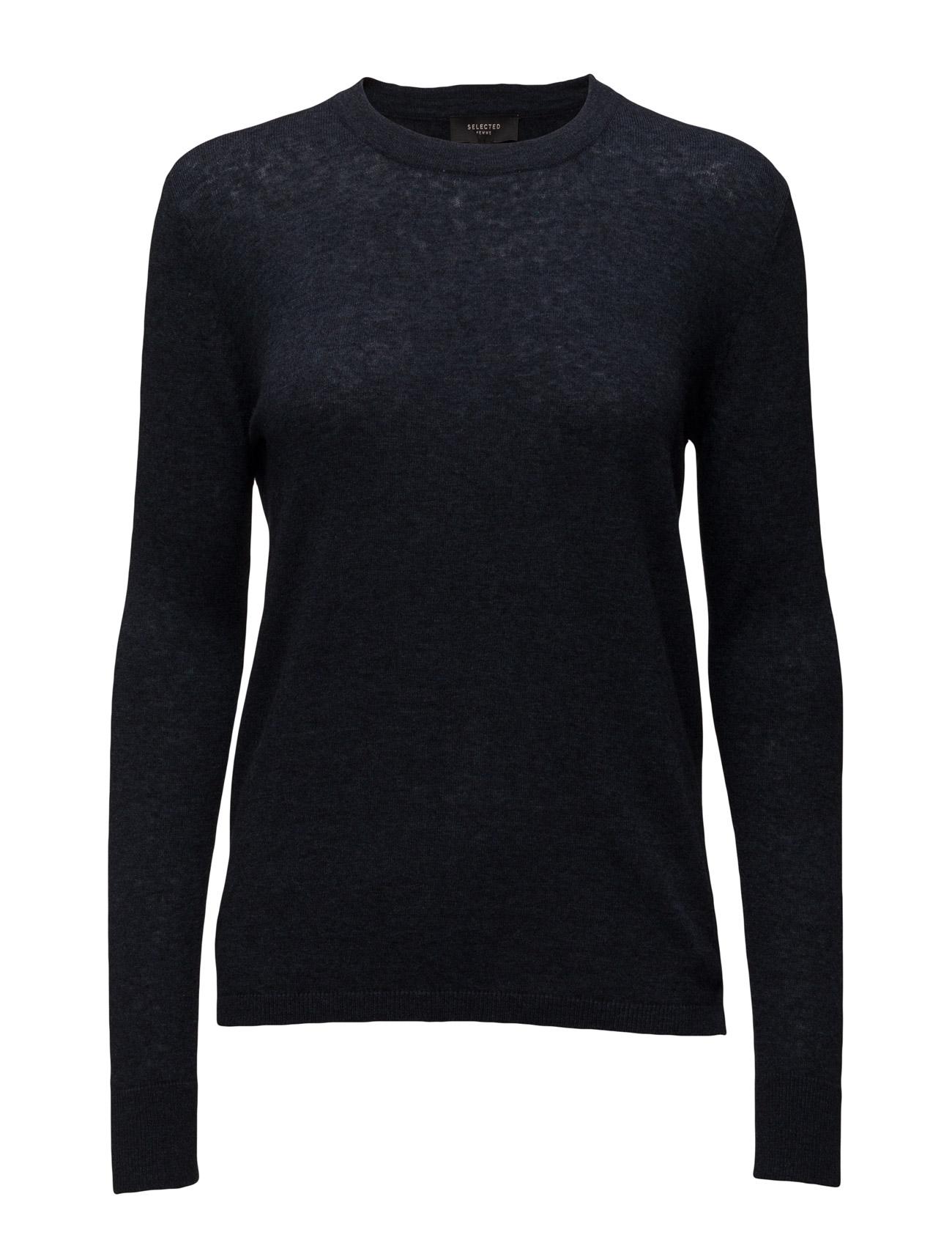 Sfmaia Ls Knit Pullover Noos Selected Femme Sweatshirts til Kvinder i Mørk grå
