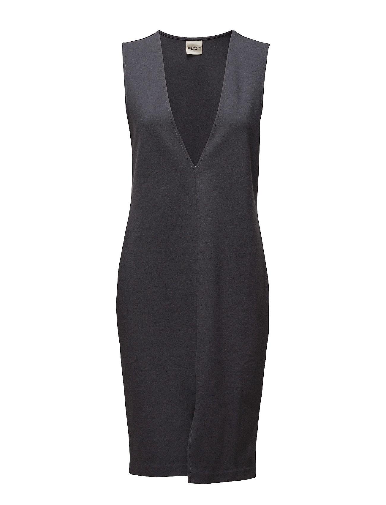 Sfanya Sl Slit Dress Selected Femme Korte kjoler til Damer i Umbra Blå