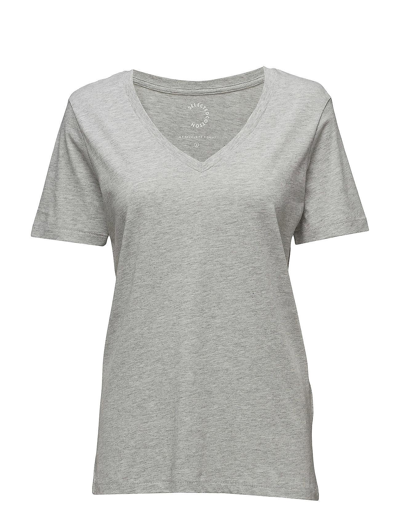 Sfmy Perfect Ss Tee - V-Neck Selected Femme Kortærmede til Damer i Bright White