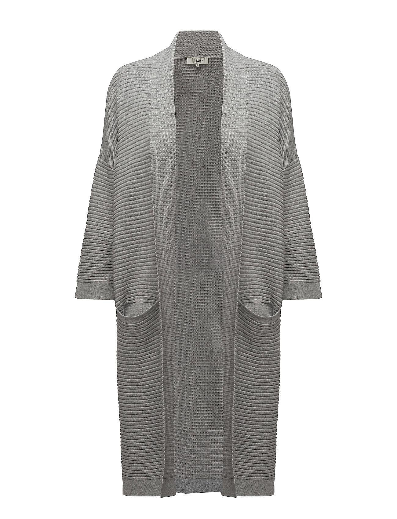 Sflaua 3/4 Knit Loose Cardigan Selected Femme Striktøj til Kvinder i Light Grey Melange