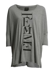 DENNI 3/4 TOP - F - Medium Grey Melange