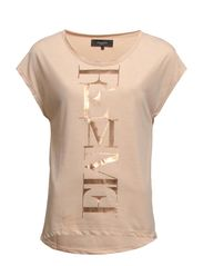 DENNI SS TEE - FOIL - Toasted Almond