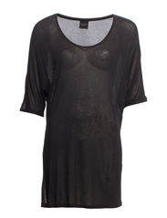 TECCA 2/4 U-NECK OVERSIZE TOP NOOS - Black