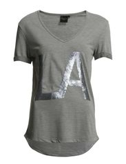 DENNI SS V-NECK TEE - LA F - Medium Grey Melange