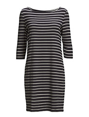 PAJA LOW 3/4 DRESS - STRIPED - Dark Navy