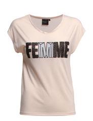 SFDENNI FEMME EMB SS TEE F EX - Peach Blush