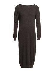 SFPOPPY LS LONG KNIT DRESS - Dark Grey Melange
