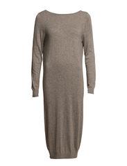 SFPOPPY LS LONG KNIT DRESS - Medium Grey Melange