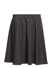SFLAURA WOOL SKIRT BELOW THE KNEE EX - Dark Grey Melange