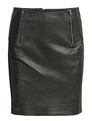SFDAROKA MW PENCIL LEATHER SKIRT - Black