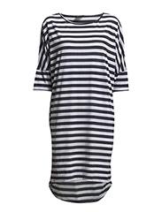 SFGENOVA 3/4 OVERSIZE DRESS STRIPE EX - Bright White