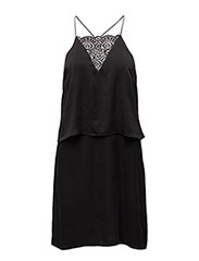 SFRITA SILK STRAP DRESS EX - BLACK