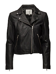 SLFMARLEN LEATHER JACKET NOOS - BLACK